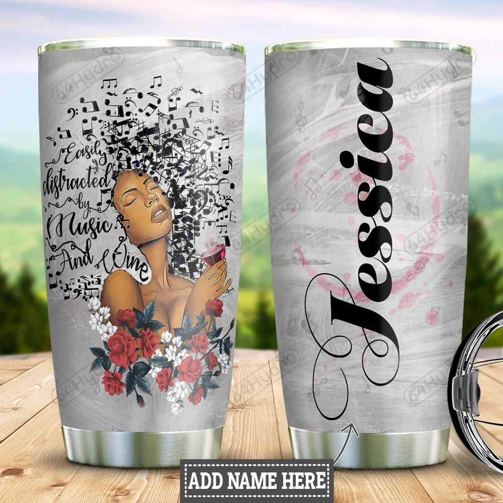 Personalized Black Women Music And Wine HLZ0401025Z Stainless Steel Tumbler