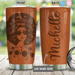 Personalized Black Women Leather Style KD2 BGM0501005Z Stainless Steel Tumbler