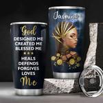 Personalized Black Women Faith God Loves Me KD2 BGM0501003Z Stainless Steel Tumbler