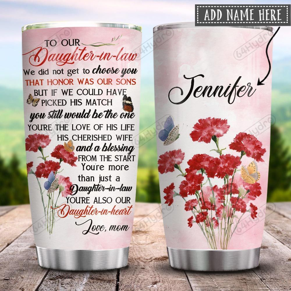 To My Daughter In Law Carnation Personalized KD2 HRX0601007Z Stainless Steel Tumbler