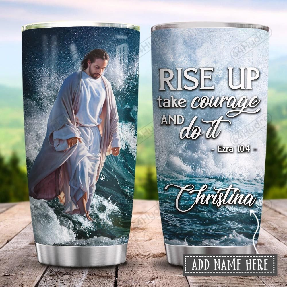 Jesus Faith Waves Rise Up Personalized KD2 HRX0601006Z Stainless Steel Tumbler