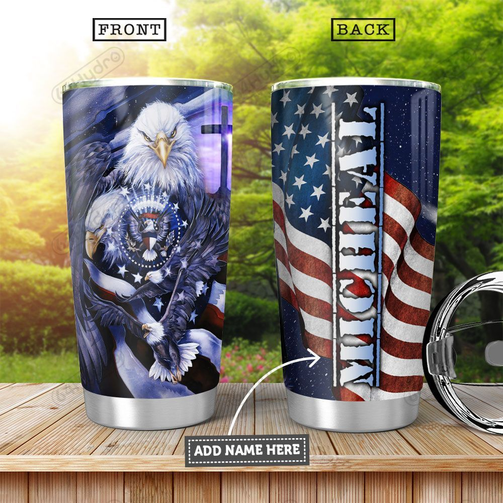 America Eagle Personalized KHA0601001Z Stainless Steel Tumbler