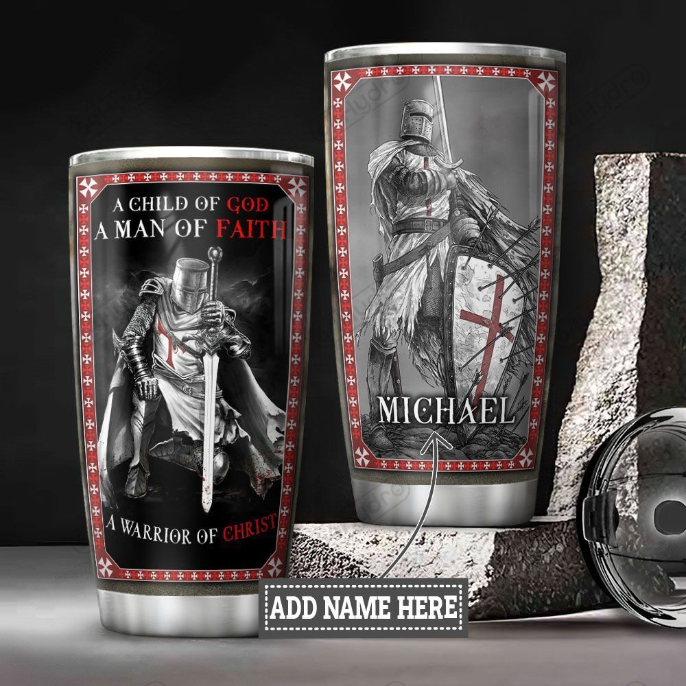 Personalized Faith Warrior Of Christ DNZ0701018Z Stainless Steel Tumbler