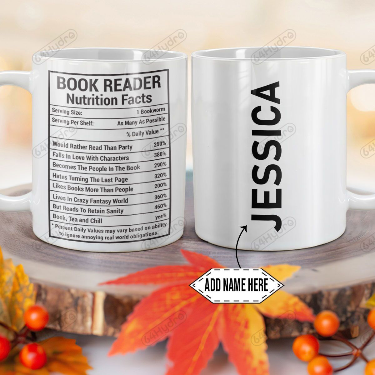 Personalized Book Lover Nutrition Facts DNZ0701001Z Full Color Ceramic Mug