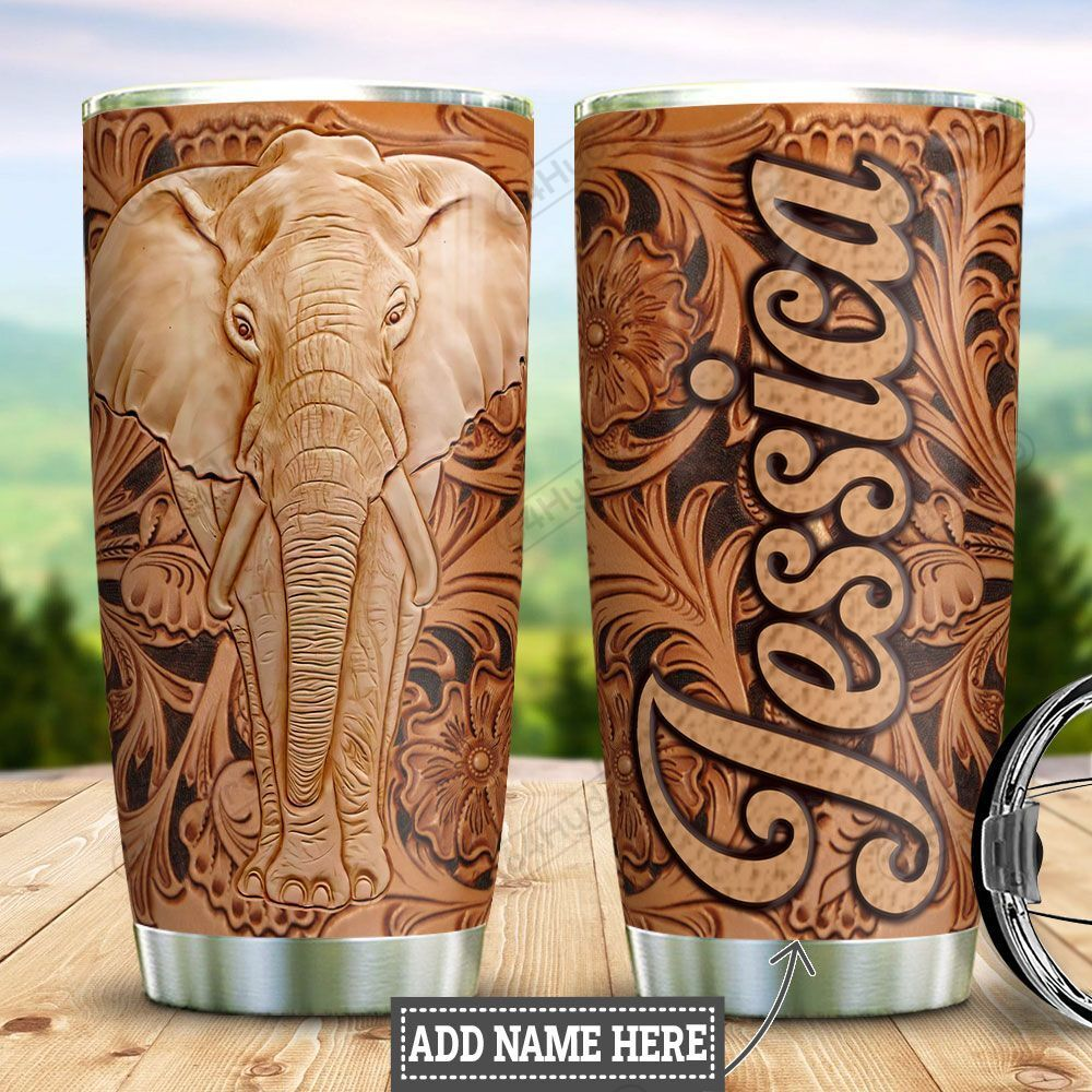 Personalized Elephant Leather Style HLZ0701017Z Stainless Steel Tumbler