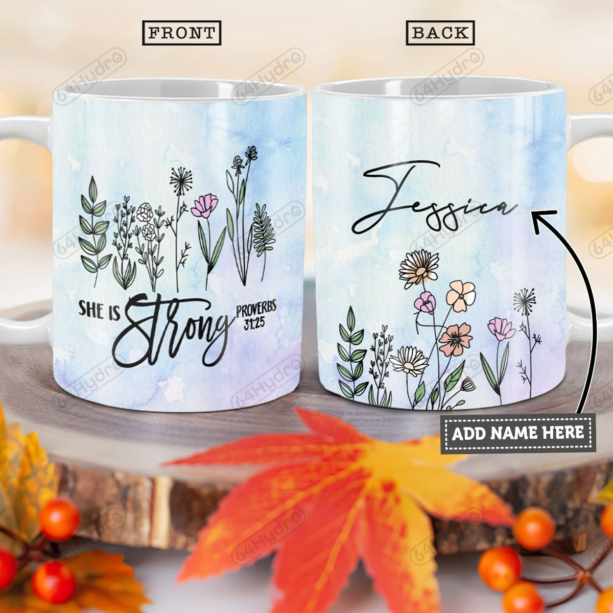 Personalized Flower Faith TTZ0701005Z Full Color Ceramic Mug