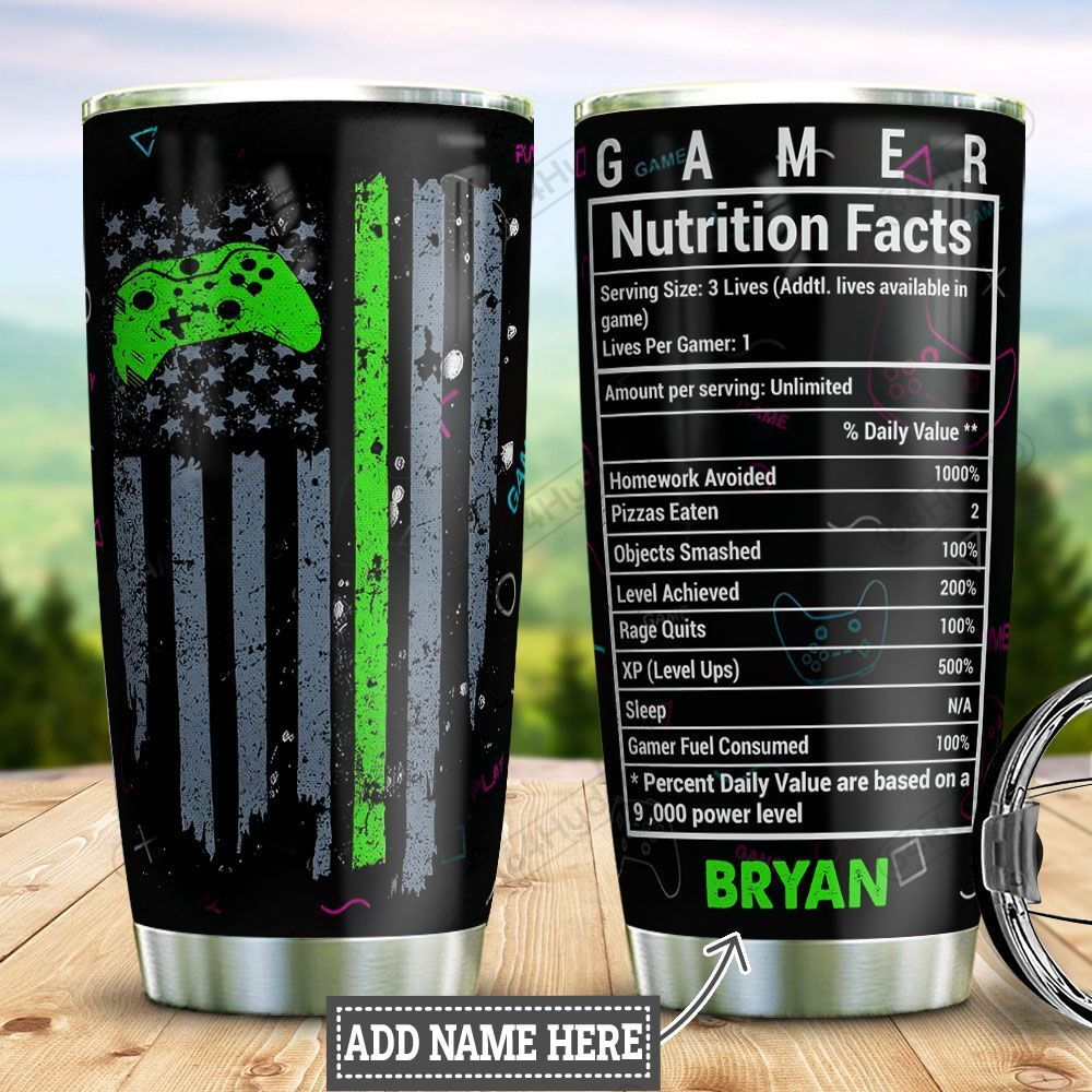 Personalized Gamer Nutrition Facts DNZ0701020Z Stainless Steel Tumbler