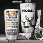 Grandpa To Deer Grandson Personalized PYR0701011Z Stainless Steel Tumbler