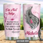 Personalized Lion Breast Cancer Awareness TTZ0801011Z Stainless Steel Tumbler