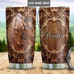 Personalized Horse Wood Style TTZ0801010Z Stainless Steel Tumbler