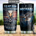Personalized American Eagle Mom To Son TTZ0801001Z Stainless Steel Tumbler