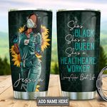 Personalized Sunflower Black Nurse TTZ0901024Z Stainless Steel Tumbler