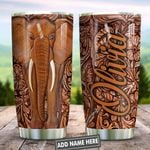 Wooden Style Elephant Personalized KD2 HNL0901011Z Stainless Steel Tumbler