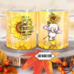 Personalized Sunflower Elephant DNM1101018Z Full Color Ceramic Mug