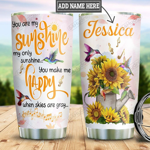 Personalized Sunflower Hummingbird Sunshine TTZ1101029Z Stainless Steel Tumbler