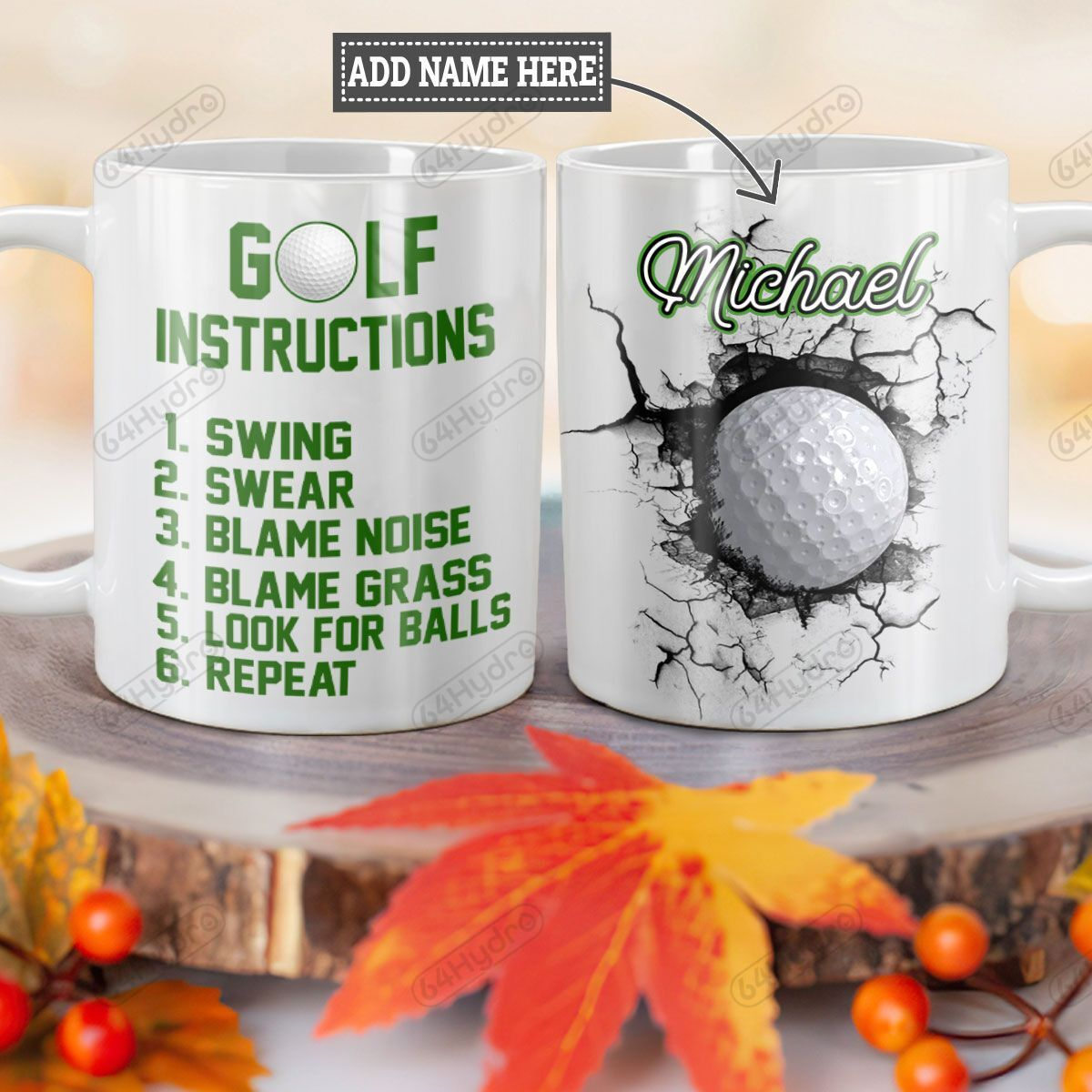 Personalized Golf Instruction TTZ1101007Z Full Color Ceramic Mug