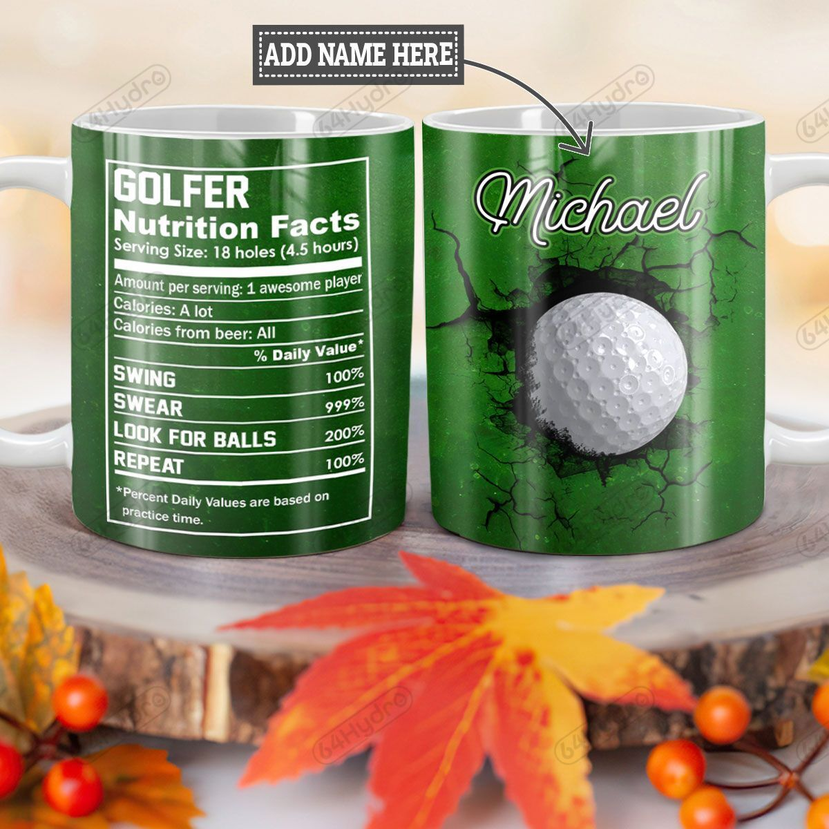 Personalized Golf Facts TTZ1101006Z Full Color Ceramic Mug