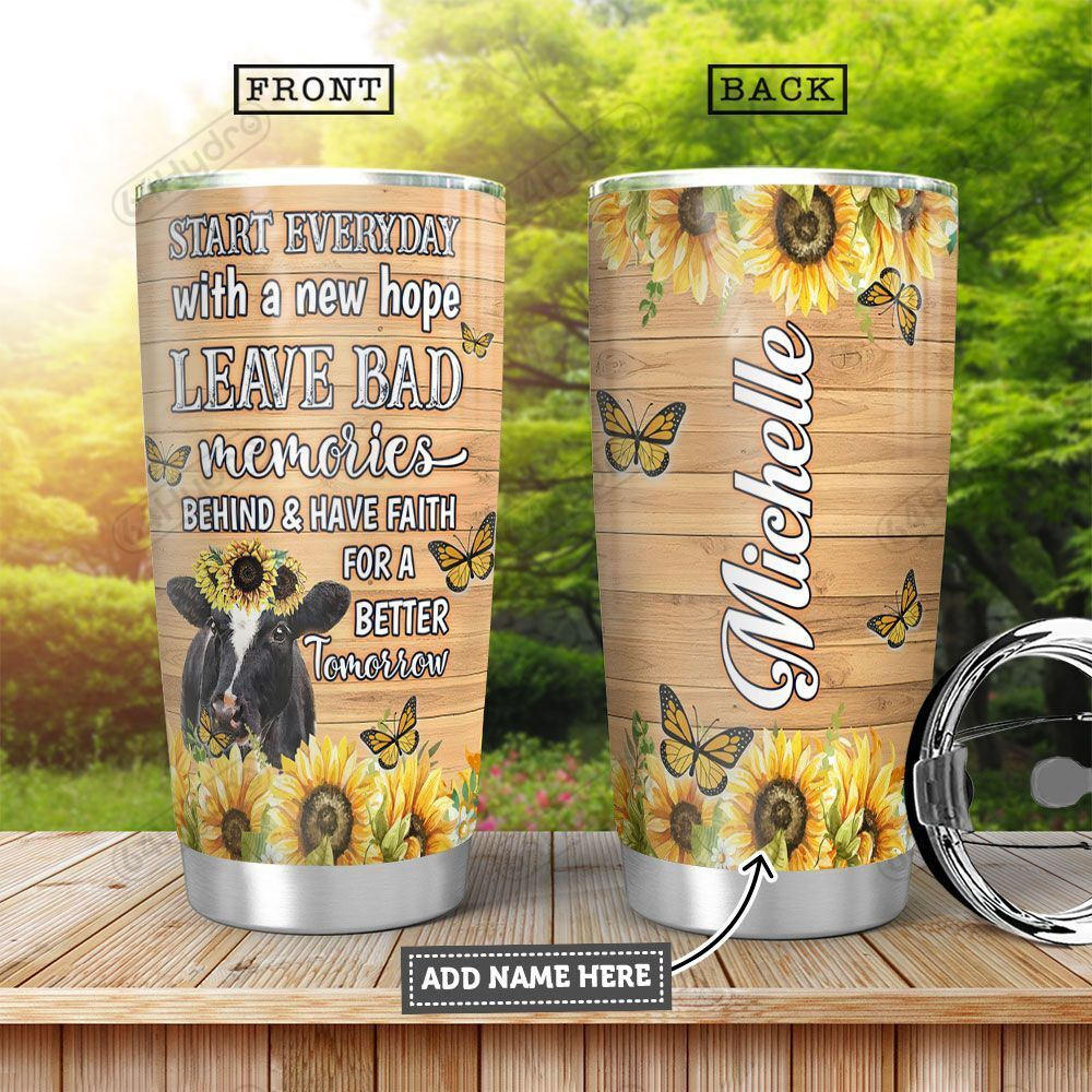 Cow Butterfly Personalized HHA1201005Z Stainless Steel Tumbler