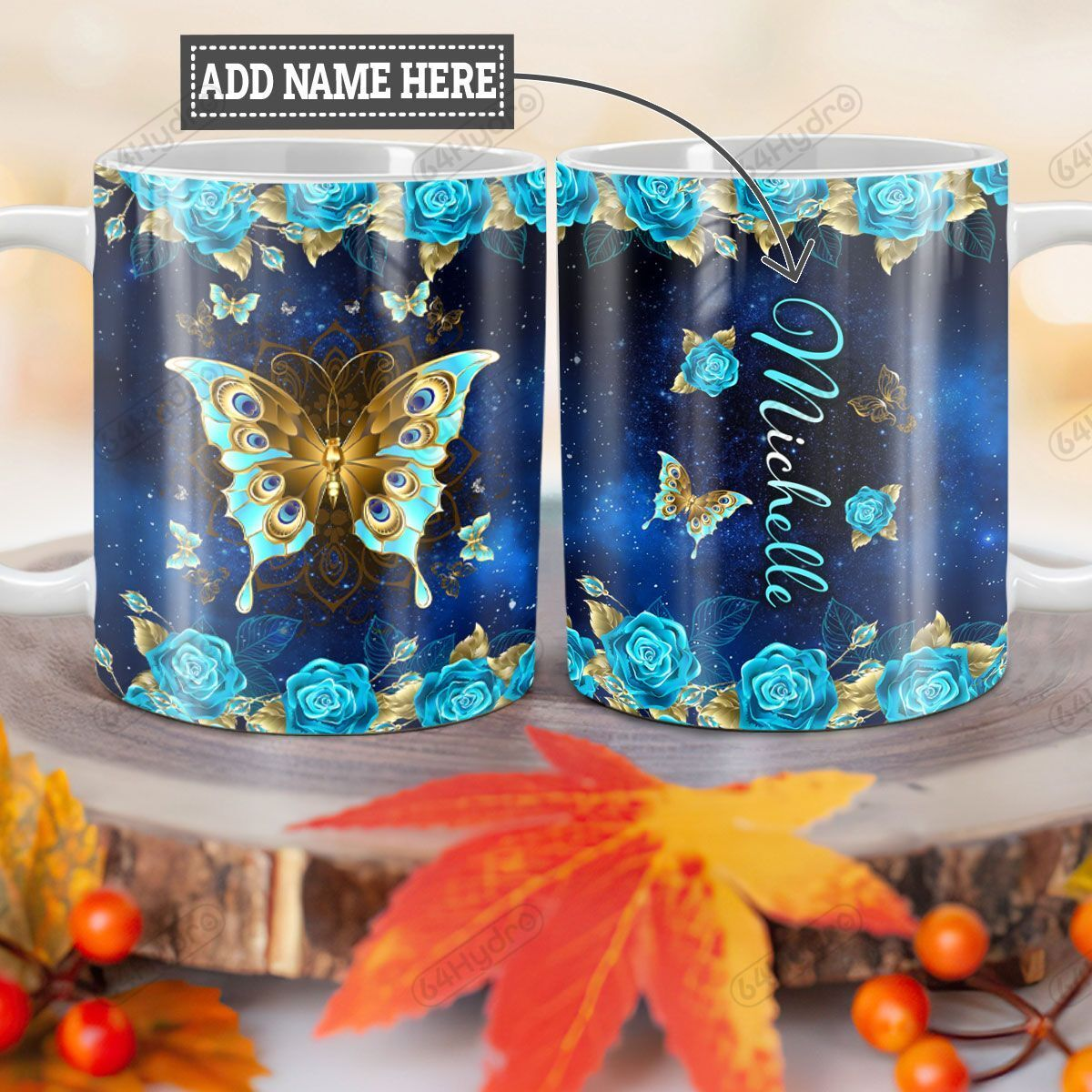 Personalized Blue Rose Butterfly TTZ1201005Z Full Color Ceramic Mug