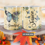Personalized Blue Butterfly Beautiful BGZ1201004Z Full Color Ceramic Mug
