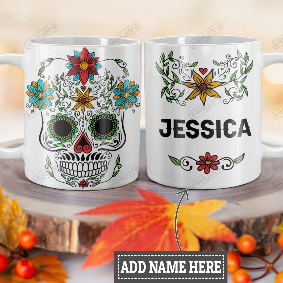 Personalized Sugar Skull HLZ1201008Z Full Color Ceramic Mug