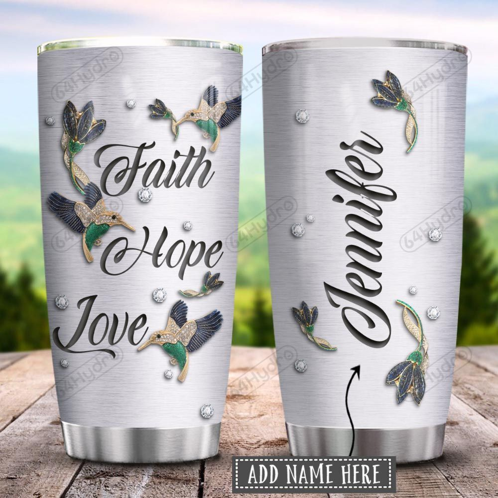 Hummingbird Faith Hope Love Jewelry Style Personalized KD2 HRX1201005Z Stainless Steel Tumbler
