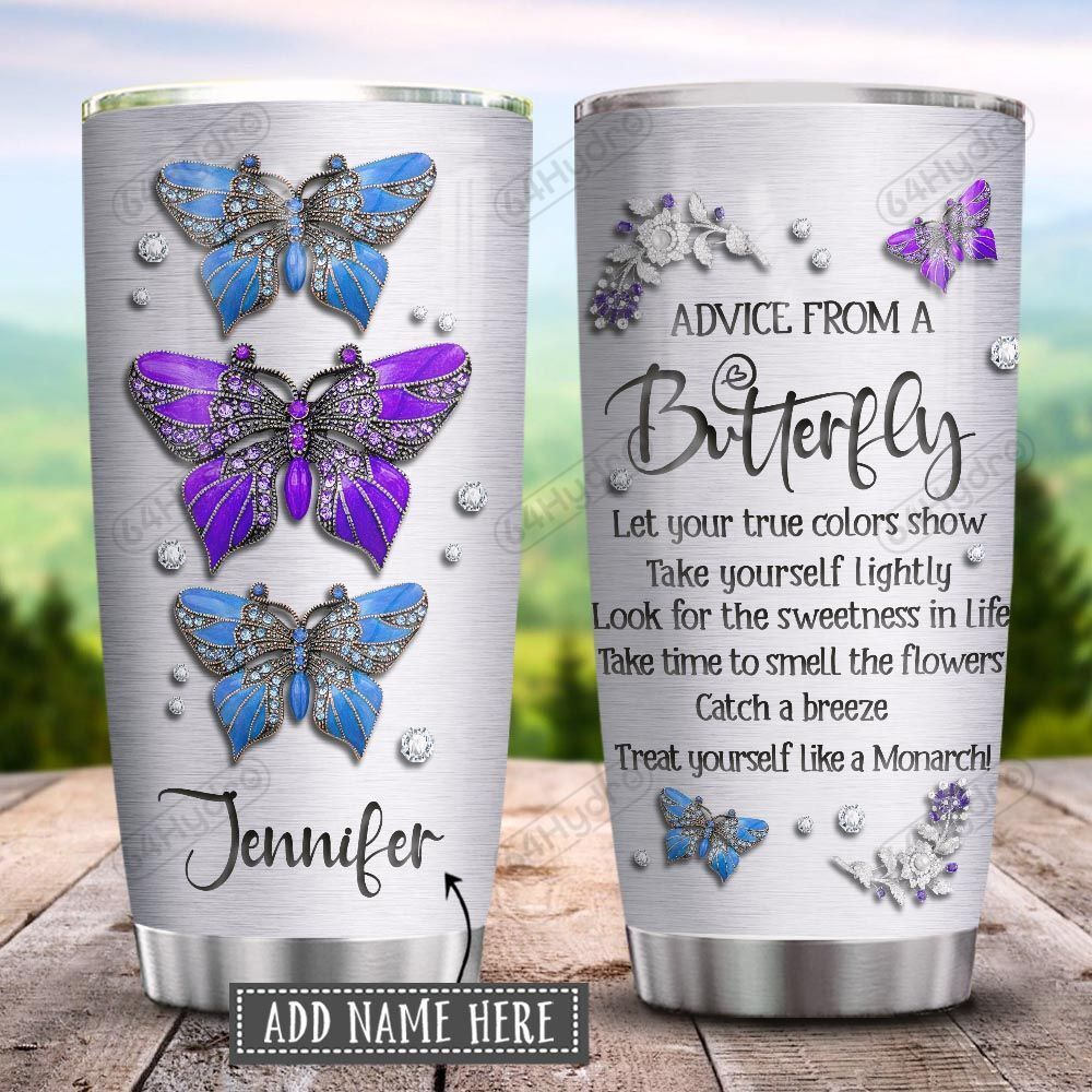 Butterfly Advice Jewelry Style Personalized KD2 HRX1201001Z Stainless Steel Tumbler