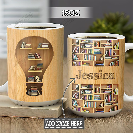 Personalized Book Lover Light Bulb TTZ1301007Z Full Color Ceramic Mug
