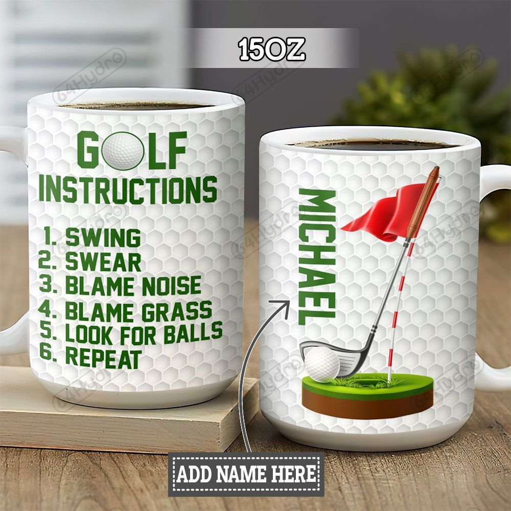 Personalized Golf Instructions TTZ1301013Z Full Color Ceramic Mug
