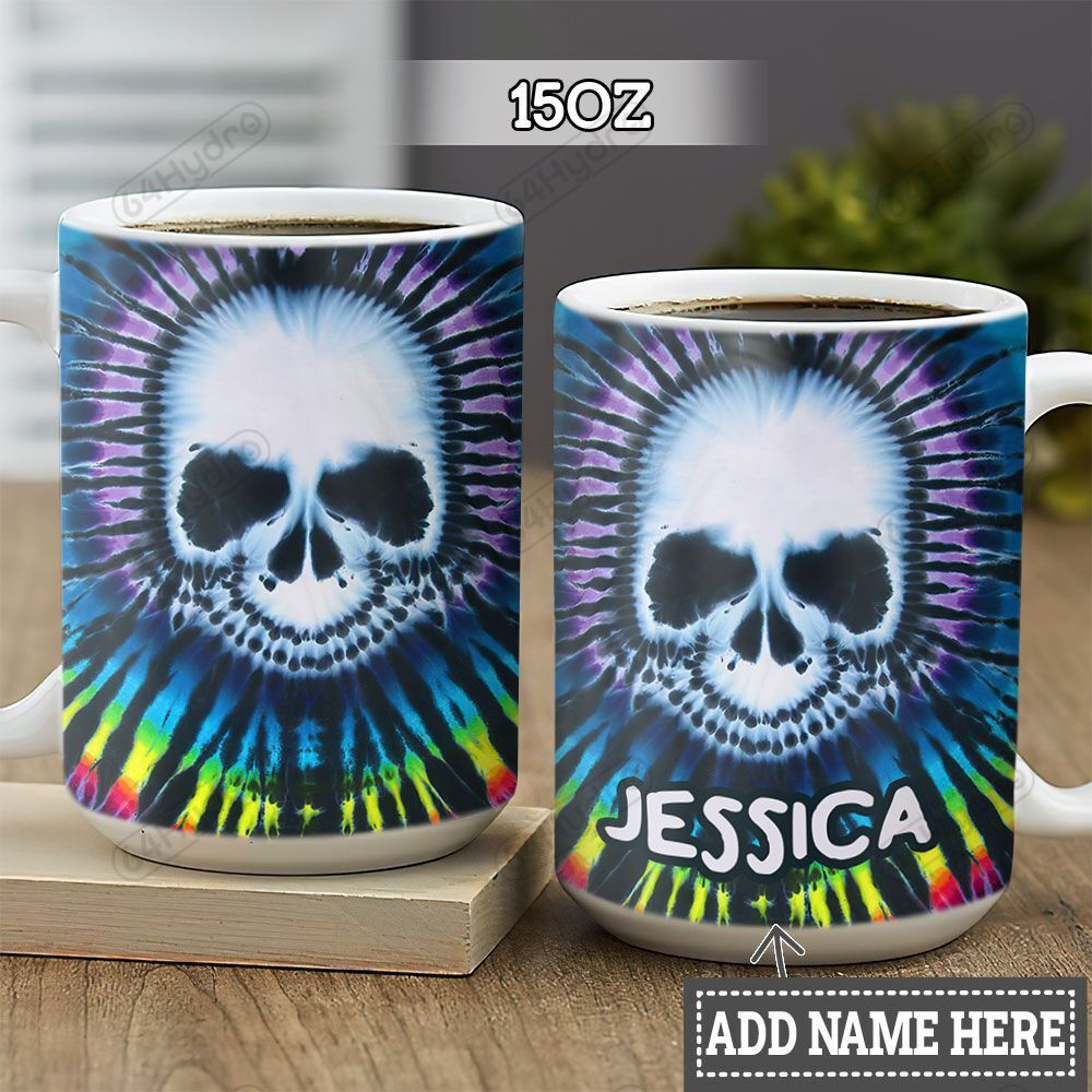 Personalized Tie Dye Skull HLZ1301025Z Full Color Ceramic Mug