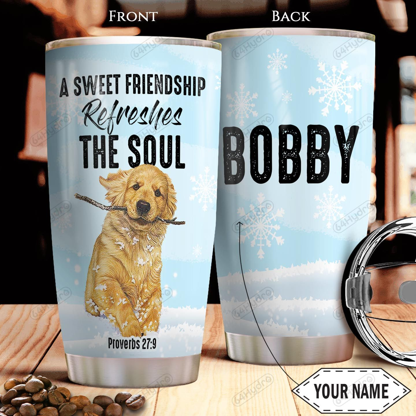 Golden Retriever Bible KD4 Personalized THA1301017Z Stainless Steel Tumbler