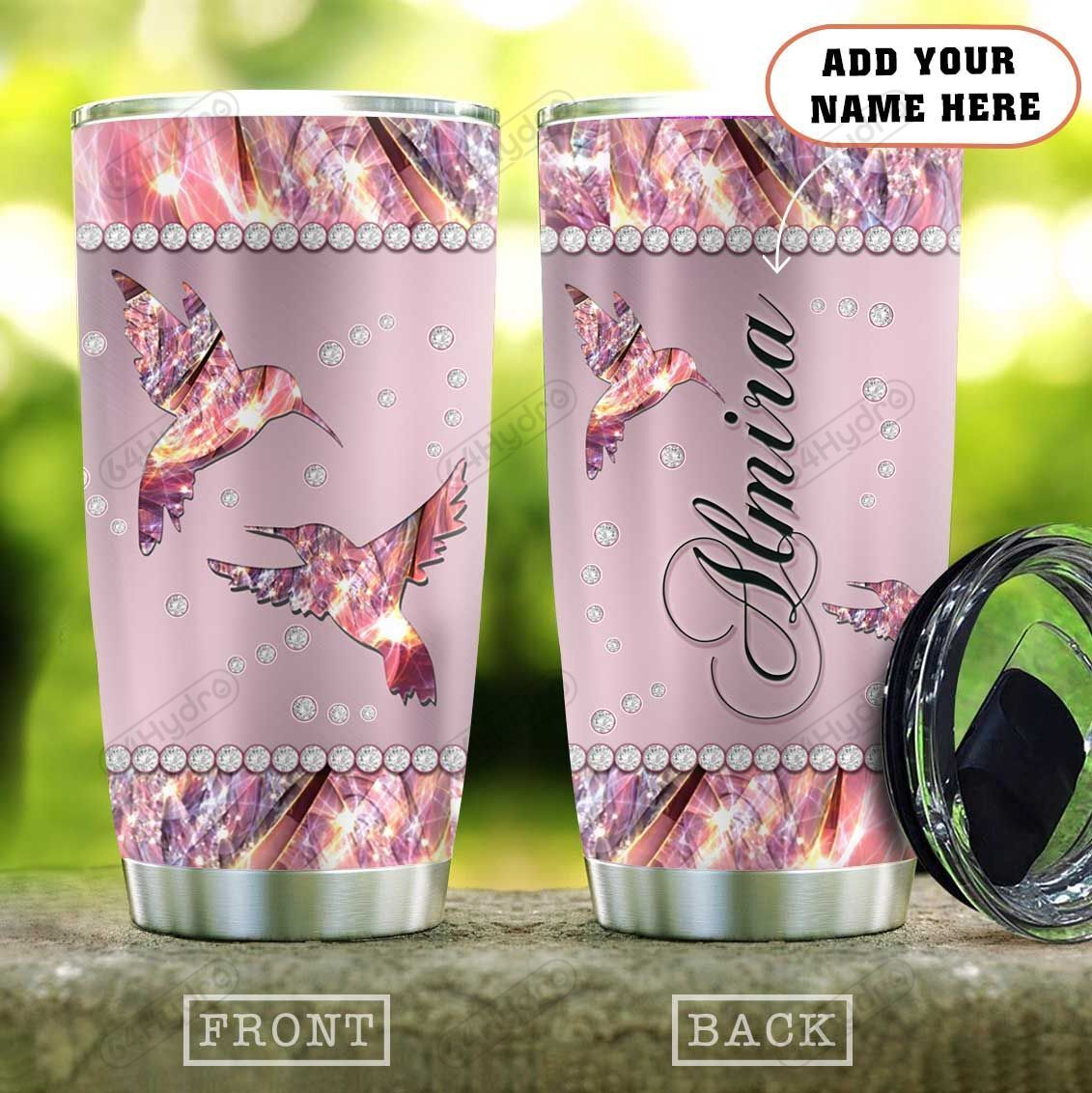 Metal Style Pink Jewelry Hummingbird Personalized KD2 HAL1301008Z Stainless Steel Tumbler