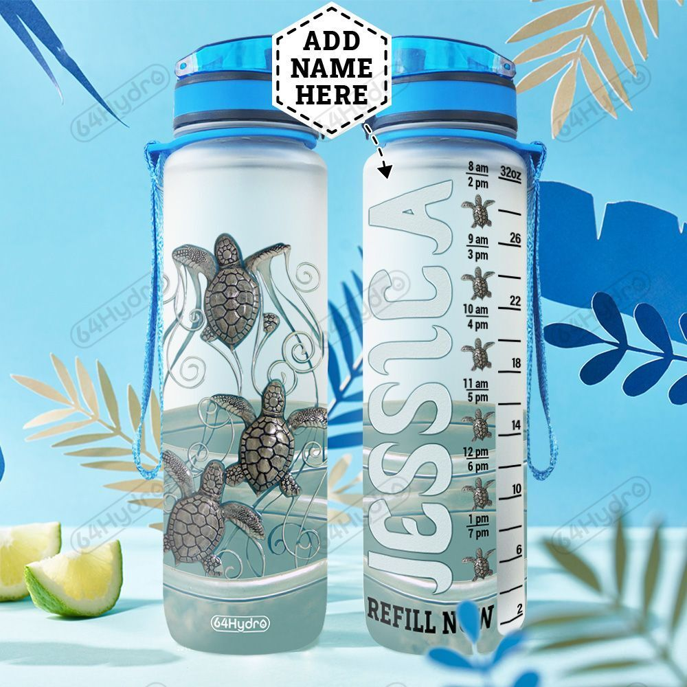 Personalized Turtle Ocean Coming HLZ1401008Z Water Tracker Bottle