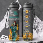 Personalized Sunflower Black Nurse TTZ1401014Z Black Water Tracker Bottle