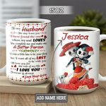 Personalized Sugar Skull Wife To Husband TTZ1301022Z Full Color Ceramic Mug