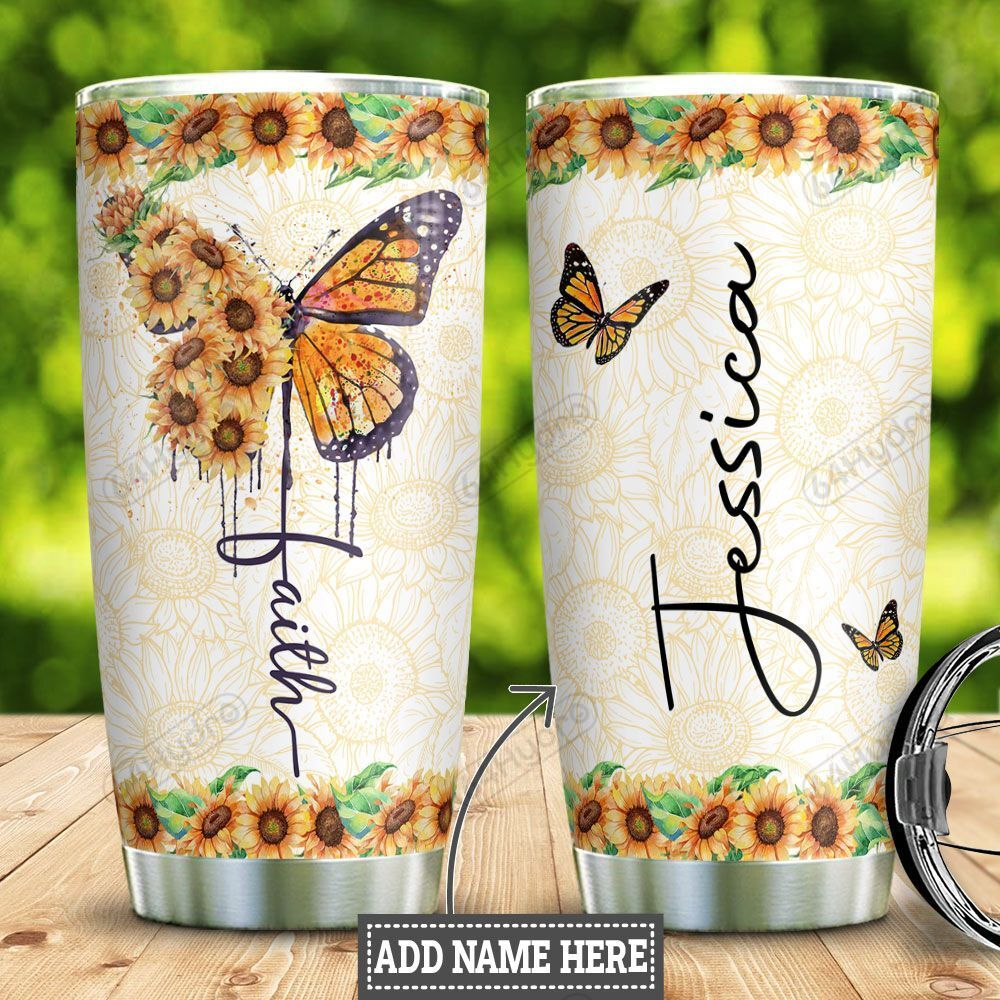 Personalized Butterfly Faith Sunflower HLM1801003Z Stainless Steel Tumbler