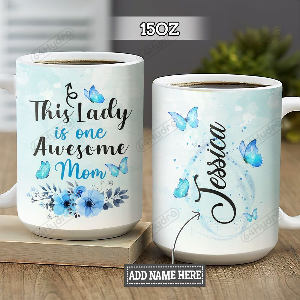 Personalized Butterfly Awesome Mom BGZ1801003Z Full Color Ceramic Mug