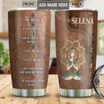 Meditation Girl Leather Style Personalized NNR1801012Z Stainless Steel Tumbler