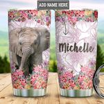 Personalized Elephant Flowers DNM1901006Z Stainless Steel Tumbler