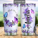 Personalized Butterfly Faith Flowers DNM1901005Z Stainless Steel Tumbler