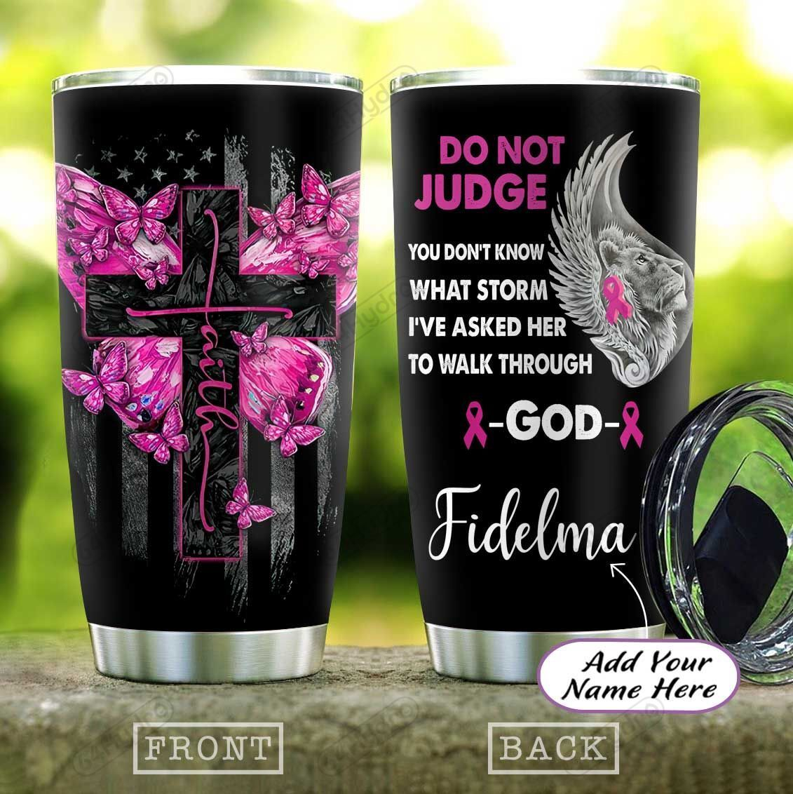 Breast Cancer Butterfly Faith Personalized KD2 HAL1901010Z Stainless Steel Tumbler