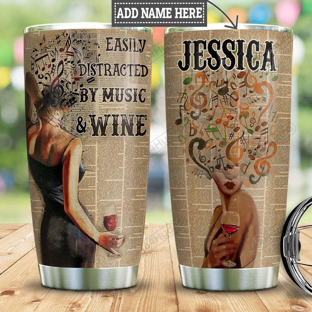 Personalized Wine Music Woman HLM2001012Z Stainless Steel Tumbler