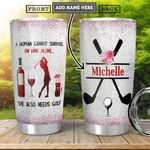 Golf Wine KD4 Personalized HHA2101003Z Stainless Steel Tumbler