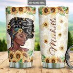 Personalized Black Women Sunflower DNM2101003Z Stainless Steel Tumbler