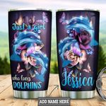 Personalized Dolphin Flowers Butterfly HLM2201007Z Stainless Steel Tumbler
