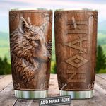 Wooden Style Wolf Vikings Personalized KD2 HNL2201014Z Stainless Steel Tumbler