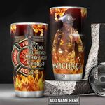 Personalized Firefighter Faith Can Do All Things HLM2301004Z Stainless Steel Tumbler