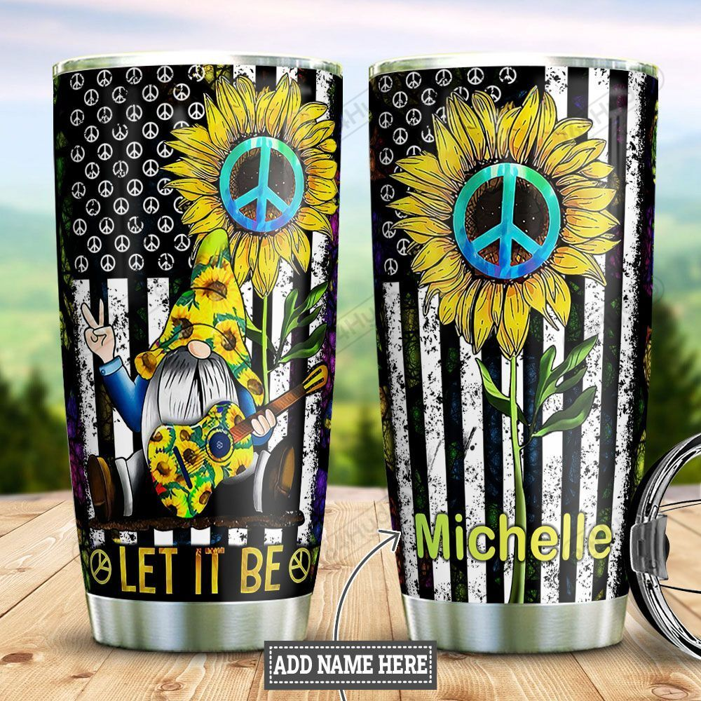 Personalized Sunflower Hippie Gnome DNZ2501016Z Stainless Steel Tumbler