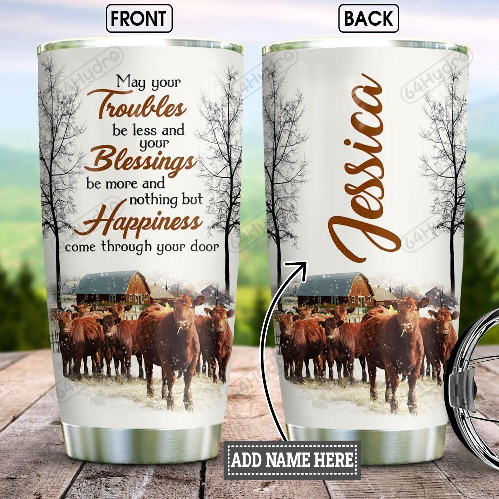 Personalized Farming Cow Happiness BGZ2501010Z Stainless Steel Tumbler