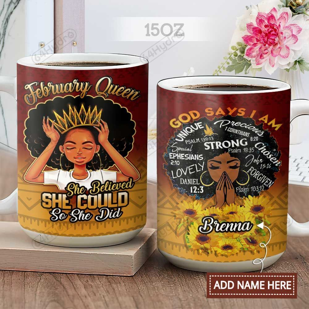 Black Woman February Queen Personalized KD2 HAL2601004Z Full Color Ceramic Mug